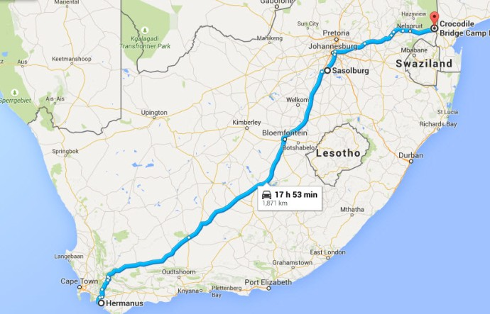 The approximate route from Bloemfontein to Crocodile Bridge on border of Mozambique